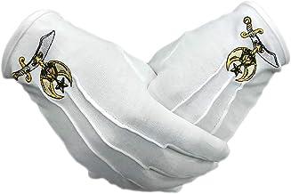 Shriner Symbol Hand Embroidered Cotton Masonic White Gloves