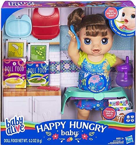BABY ALIVE Poupée Happy Hungry (Cheveux raides) avec Plus de 50 Sons et Phrases, Mange et boit et remplit sa Couche, pour Les Enfants âgés de 3 Ans et Plus.
