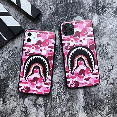 Shark Teeth Camo Print Hardshell Silicone Case for iPhone 11 iPhone 11 Pro iPhone 11 Pro Max with Matte Finish Bape Hypebeast Supreme Slim Protect Fashion Stylish