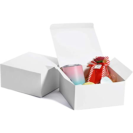 MESHA White Gift Box 8x8x4, Gift Boxes with Lids (10 Pcs), Bridesmaid Proposal Box, Groomsmen Proposal, Gift Boxes for Presents, Birthday, Christmas, Bridal, Wedding, Party Favor, Cupcake, Crafting