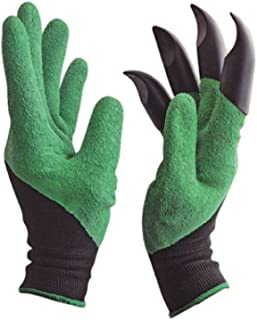 RIANZ ABS Gardening Gloves with Right Hand Fingertips Claws for Pruning, Digging & Planting, One Pair, Multicolour