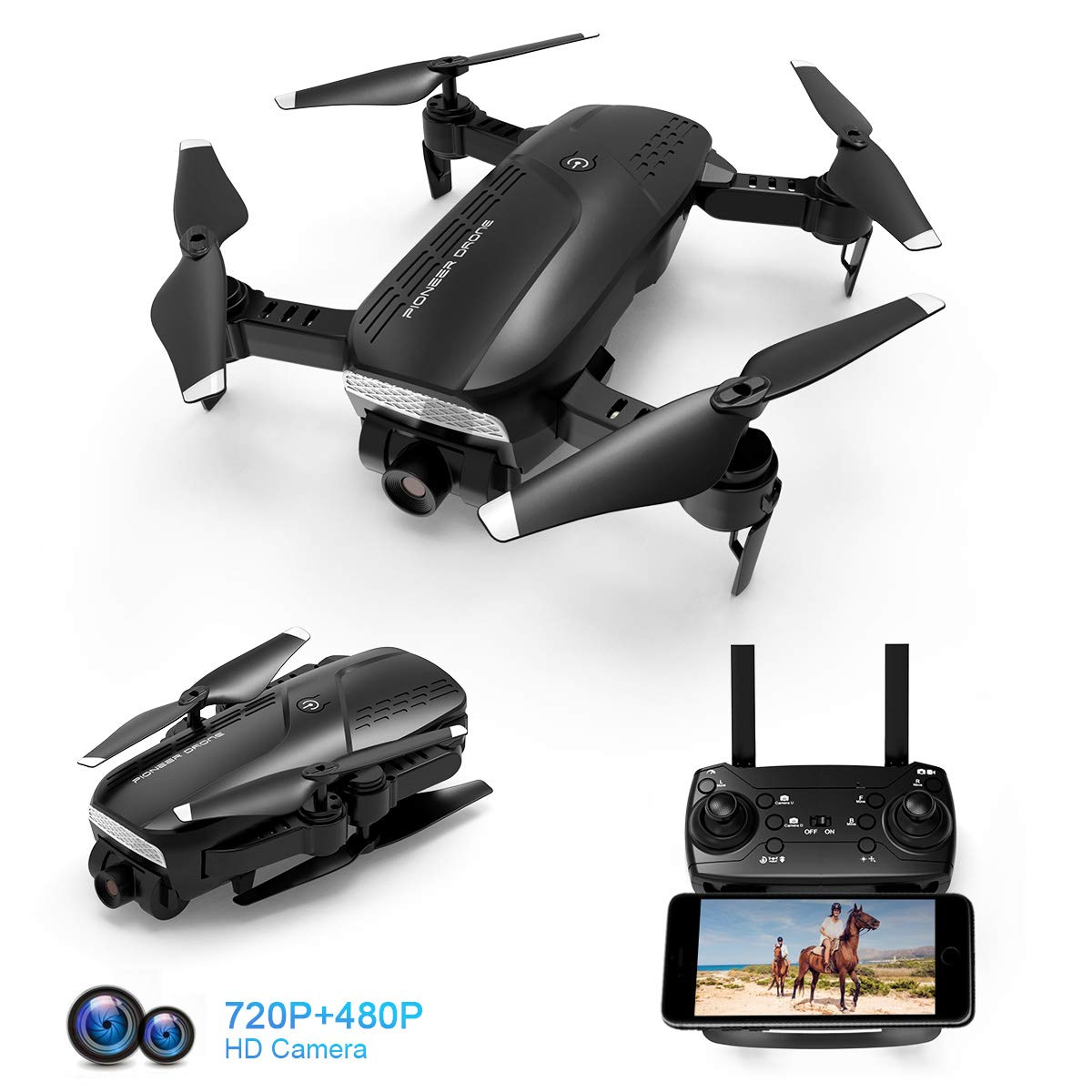 Foldable Quadcopter Wide Angle Beginners Batteries