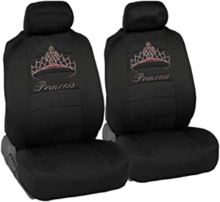 CarsCover Pink Princess Crown Crystal Diamond Bling Rhinestone Black Car SUV Truck Low Back Seat Covers
