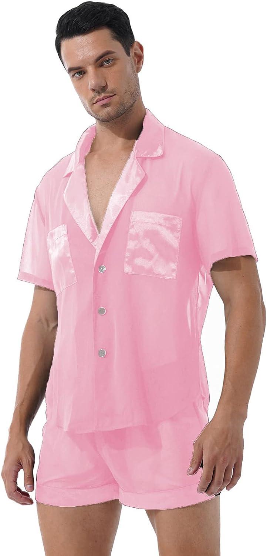 Doomiva Men See-Through Pajama Set Satin Patchwork Sleep Suit Button Tops with Shorts Nightwear