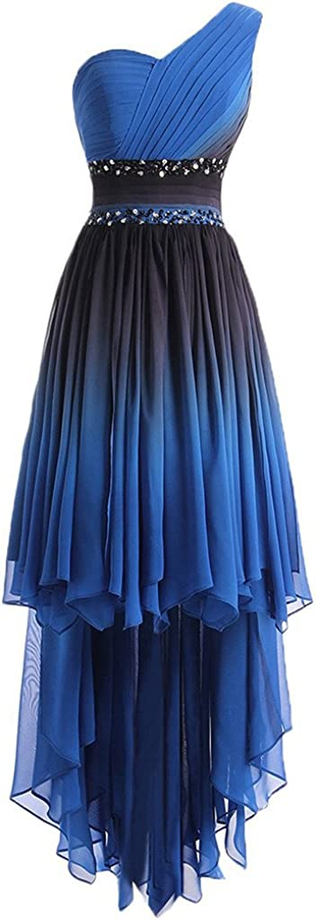 Lemai Women's One Shoulder High Low Ruffles Beaded Prom Homecoming Cocktail Dresses