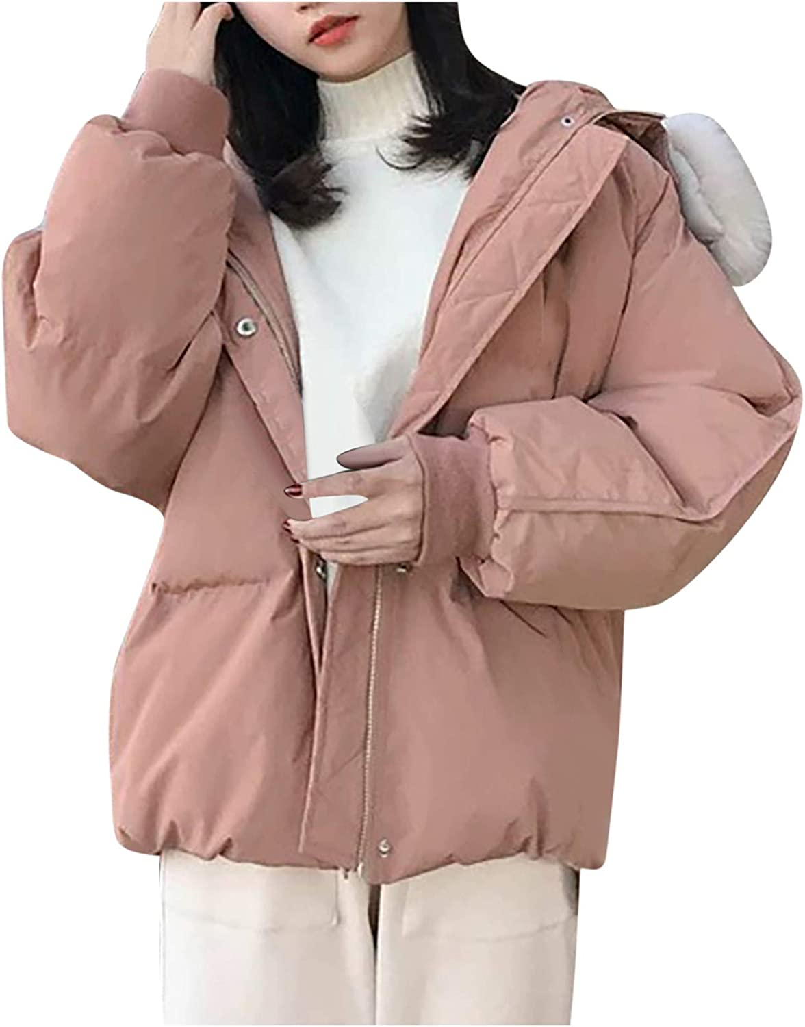 HGWXX7 Womens Coat Oversized Faux Fur Hooded Bread Overcoat Zip Up Long Sleeve Winter Fashion Down Jacket with Pockets Pink