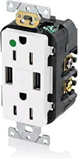 Leviton T5632-HGW 15-Amp Hospital Grade USB Charger/Tamper-Resistant Duplex Receptacle, White