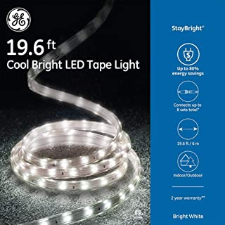 GE StayBright 240-Count 19.6-ft Constant White Integrated Led Plug-in Christmas Rope Lights Clear Tubing 82152LO
