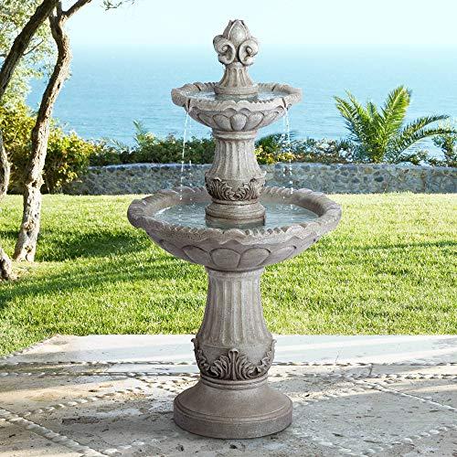 John Timberland Reneta Italian Outdoor Floor Water Fountain 51' High Three Tiered Bowl for Yard Garden Patio Deck Home