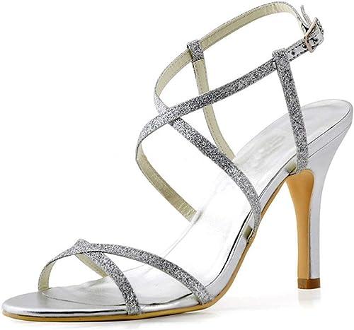 Qiusa Les Les dames Cheville Wrap Glitter Sandales Formelles Partie Mariage (Couleuré   argent-9.5cm Heel, Taille   8 UK)