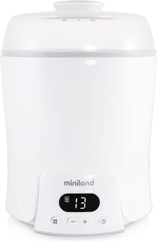 Miniland - Super 6  Calienta hasta 6 biberones, esteriliza biberones y potitos, cocina al vapor, descongela, cuece, mantiene la temperatura. 6 en 1