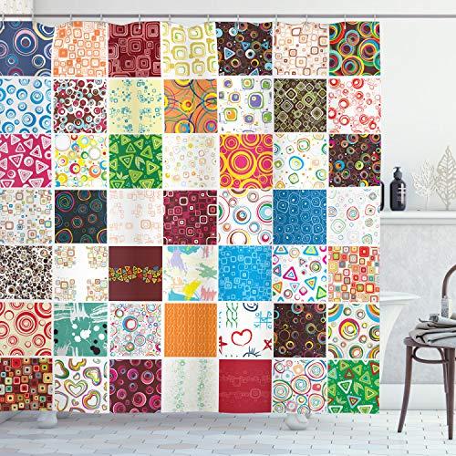 ABAKUHAUS Retro Duschvorhang, Patchwork Retro Style, Waschbar und Pflegeleicht mit 12 Haken Hochwertiger Druck Farbfest Langhaltig, 175 x 180 cm, Multicolor