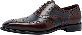 Brogue Zapatos de Cordones Clásico Wing Tips Casual Bicolor Oxford Formal Zapatos de Vestir