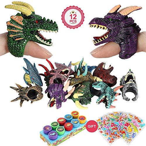 vamei Dinosaurier Party Mitgebsel 12 Stück Drachen Fingerpuppen Dinosaurier Spielzeug Drachen Ringe mit Dinosaurier Aufkleber Stempel Handpuppen Drachenringe Dino Party Set