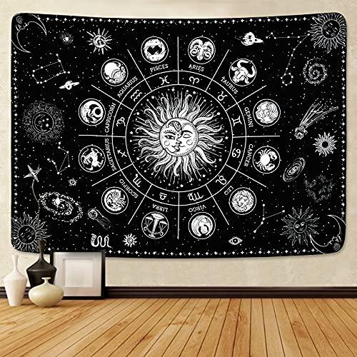 Yugarlibi Tapiz de pared con diseño de estrellas y sol y luna, 150 x 130 cm, color negro