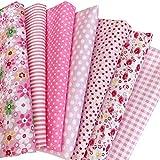 花柄 綿混紡 生地 手芸用 カットクロス パッチワーク布 はぎれ 50×50cm 7枚セット (ピンク)