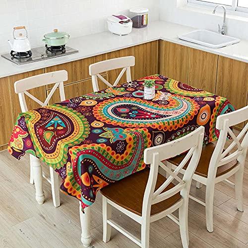 XXDD Mantel de Lino Impermeable con patrón de costumbres étnicas africanas, Mantel Decorativo para el hogar, Cocina, Hotel, Escritorio, A1 140x140cm