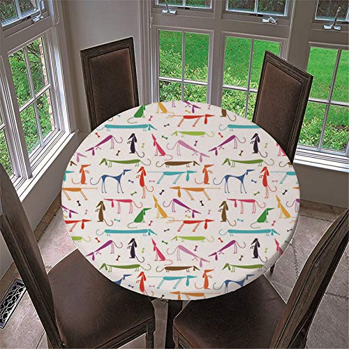 ATJL Round Table Cloth Cartoon Color Mouse Pattern Waterproof and Anti-Wrinkle Polyester Fabric Round Table Cloth Suitable for Buffet Table Party Outdoor Picnic (36in)