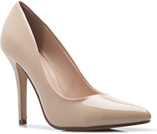 Women's Classic D'orsay Closed Toe High Stiletto Heel Pump   Dress, Work, Party HIGH Heeled Pumps   Casual Comfortable Dk Beige Patent 10 M US