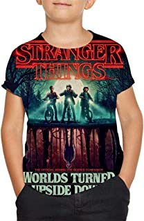 Stran-ger-Thin-gs Teenagers Student t-Shirt Unique Breathable Front and Back Full-Frame 3D Printing Unisex