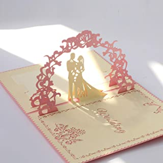 Paper Spiritz Pop up Wedding Cards Anniversary, 3D Pop up Wedding Card for Wife, 3D Valentine's Day Card, Anniversary, for Wife, with Envelopes, Wedding Invitations Blank Greeting Cards(Pink)