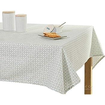 Manteles de algodón para mesas rectangulares. Manteles de mesa impresos. Mantel rectangular de 1,5 m. Mantel lavable para fiestas, cenas de vacaciones, mesas de buffets (54 x 72 pulgadas, flores grises plateadas)