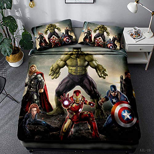 DCWE Bettbezug, Kinder, Marvel Avengers, Bettwäsche, Bettbezug, 100 % Mikrofaser, 3D-Digitaldruck, 5, 135X200CM