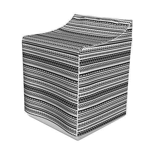 ABAKUHAUS Ethnisch Waschmaschienen und Trockner, Orientalische Muster mit gestreiftem Tattoo Mandala Damast-Folk-Effekten, Bezug Dekorativ aus Stoff, 70x75x100 cm, Weiß schwarz