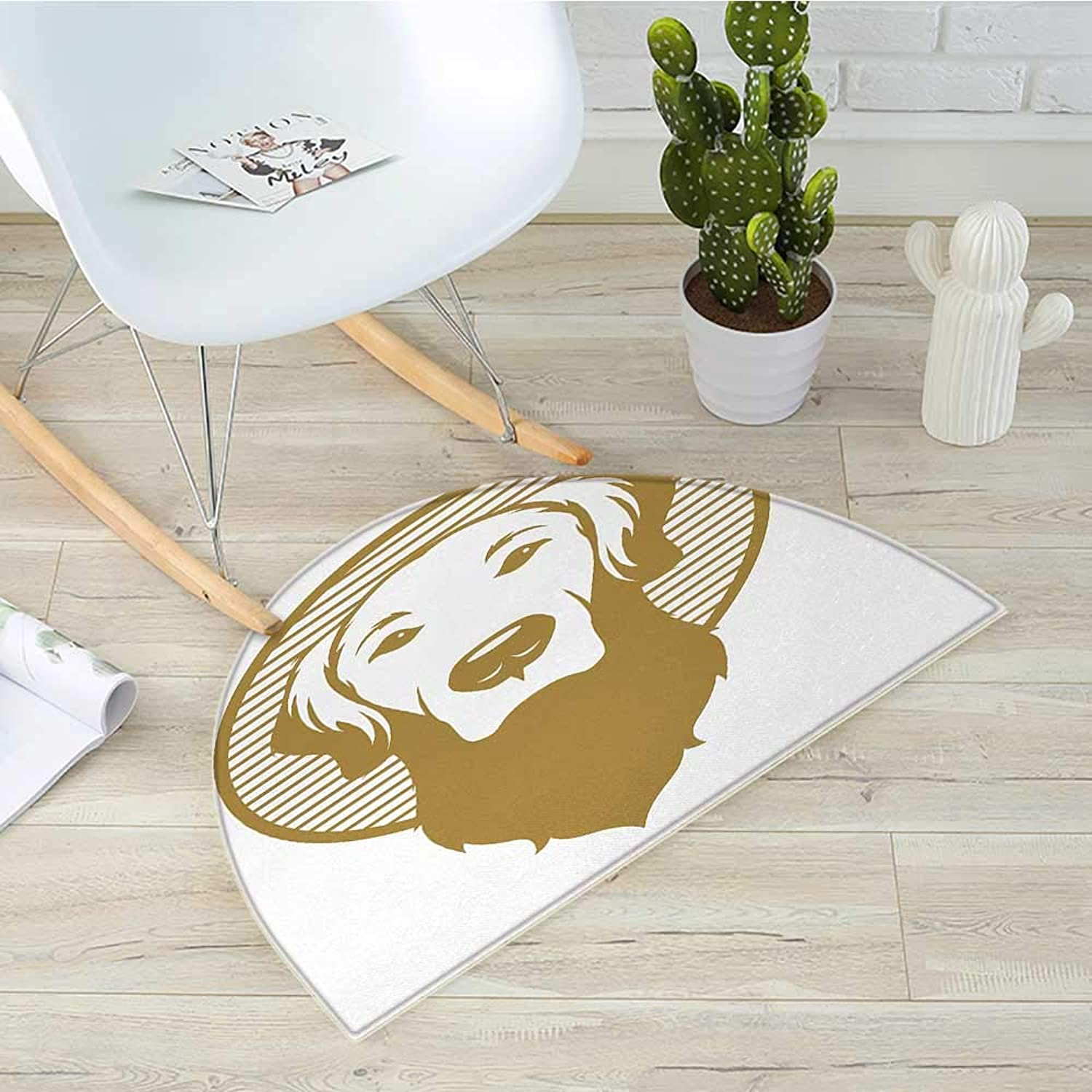 golden Retriever Semicircle Doormat Vintage Styled Illustration of Dog Portrait on a Striped Circle Halfmoon doormats H 35.4  xD 53.1  Pale Coffee and White