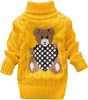 Toddler Baby Girls Boy Long Sleeve Sweater Knit Pullover Bear Print Crochet Tops Winter Warm Tee Clothes