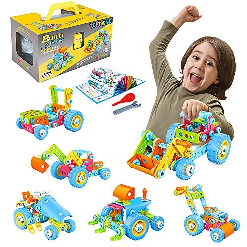 Toptrend Kinder Montage Baufahrzeuge Spielzeugauto Set - 6-in-1 DIY Lernspielzeug Baukasten Konstruktionsspielzeug Spielzeug Set für Kinder Jungen und Mädchen ab 3 Jahren