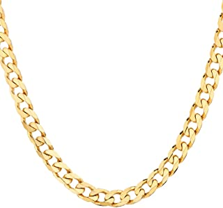 18K Solid Gold Heavyweight 4.5mm Cuban Curb Link Chain Necklace- Italian Design- 18 Karat