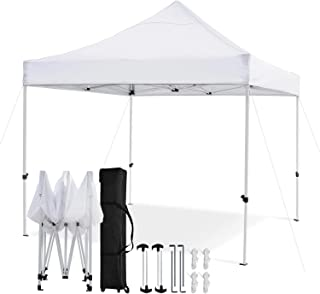 Leader Accessories Premium 10' x 10' Pop up Canopy Tent Commercial Instant Shelter Straight Leg with Wheeled Carry Bag, White