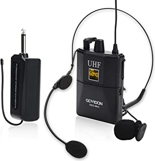 GEARDON UHF Lavalier Lapel Microphone, Wireless Headset Mic with Bodypack Transmitter and Mini Rechargeable Receiver for Teaching/Public Speaking/Church