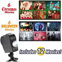 Window Projector 12 Movie Projection Lights,Laser Projector Window Home Theater Wonderland Projector for Halloween/Christmas,Turn Your Windows Into A Festive Movie Screen(US Plug)