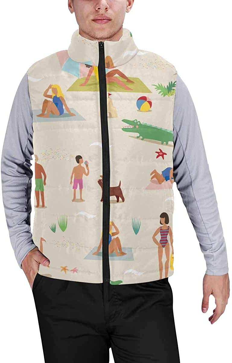 InterestPrint Men's Soft Full Zip Sleeveless Jacket for Running, Hiking Funny Space Planets and Spaceships