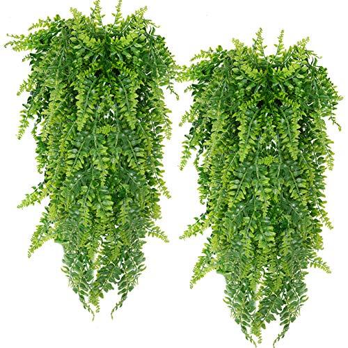 Artificial Hanging Vines Plants Fake Ivy Ferns for Outdoor UV Resistant for Wall Indoor Hanging Baskets Wedding Garland Decor 2 Pack (Fern)