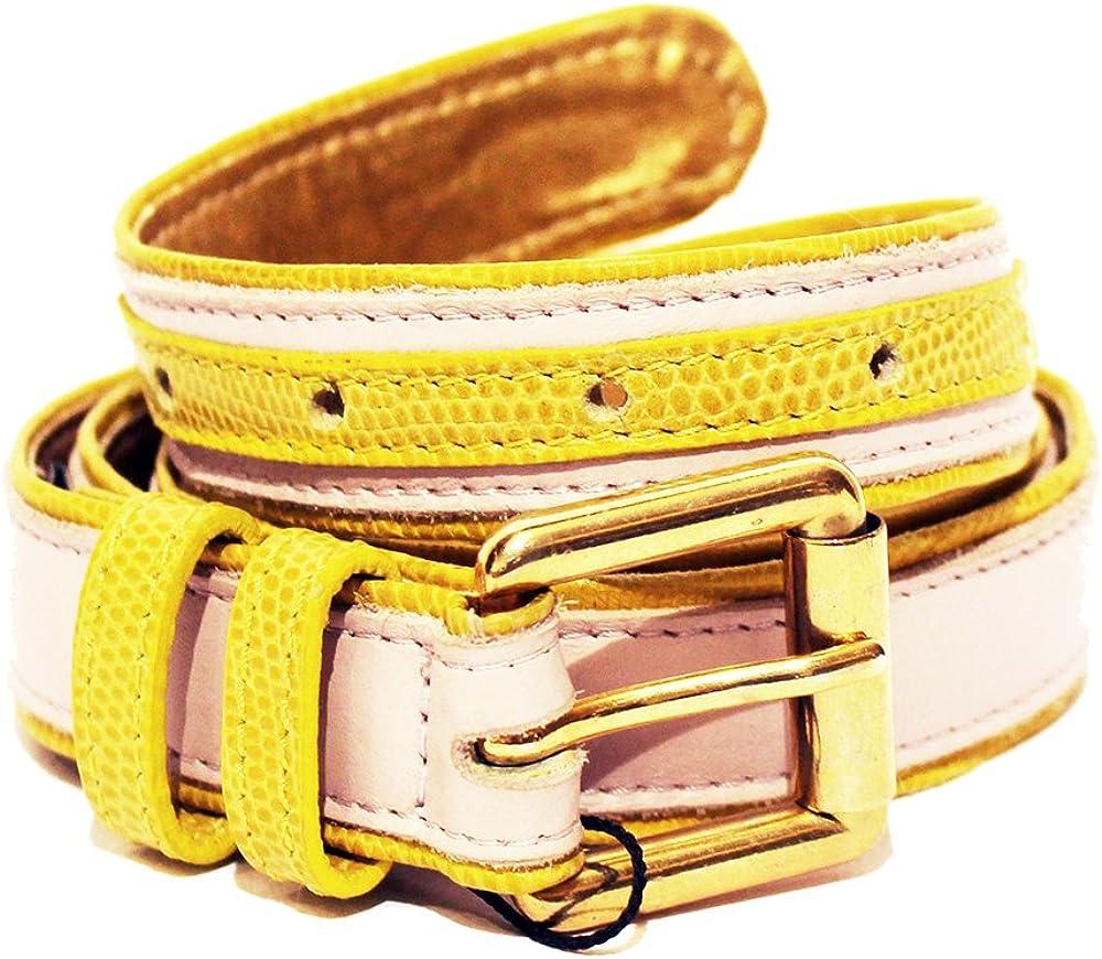Dolce & gabbana,cintura per donna,in pelle bicolore con fibbia e scritta d&g dorati JC5FP48063 6/002