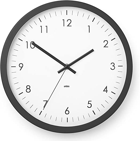 Umbra Wall Clock 12 Round Plastic Frame Battery Operated Decorative Wall Clock For Kitchen Nursery Office School Hospital With Silent Second Hand