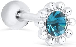 ONDAISY 14K Gold Plated Simulated Diamond Cz Round Circle Ball Ear Barbell Ball Stud Earring Piercing