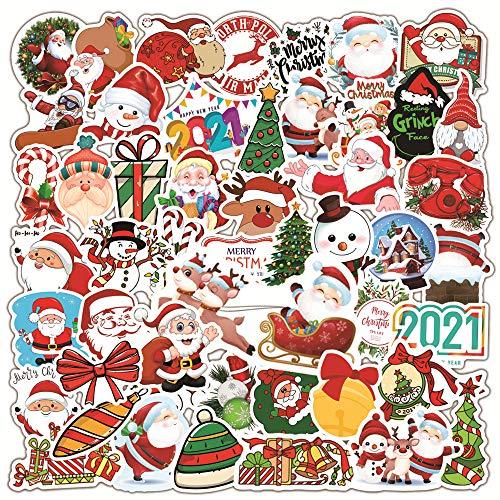 YOUYIKE® Weihnachtsaufkleber, 50 Anders Vinyl Weihnachtsdekoration Aufkleber, Etiketten selbstklebend für Weihnachten Geschenkverpackung, Fenster, Autos, Notizbücher, Tassen