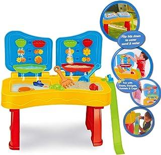 deAO Mesa de Agua y Arena Doble Cascada Doble Compartimento, Tapa y Accesorios Incluidos para Niños y Niñas