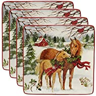 """Certified International Christmas on The Farm 10.5"""" Dinner Plate, Set of 4, One Size, Mulicolored"""