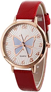 Women's Butterfly Watches Creative Pattern Quartz Watch Leather Strap Belt Table Watch