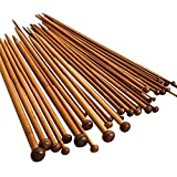 NUOMI 36 Pieces Bamboo Knitting Needles Set (18 Sizes from 2.0mm to 10.0mm), Single Pointed Carbonized Knitting Kits