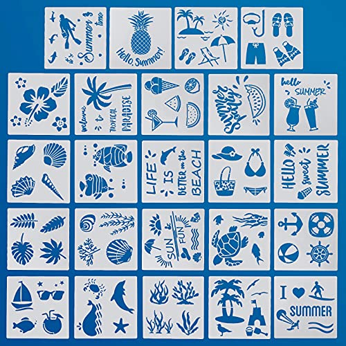 PAFUWEI 24 Pcs Summer Ocean Creatures Stencil, Reusable Sea Painting Templates Ocean Animal Painting Stencils, Turtle Fish Sea Ocean Beach Stencil for DIY Crafts Scrapbooking Painting on Wood