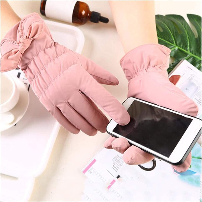 JBIVWW Winter Warm Coral Fleece Lining Gloves Women Waterproof Outdoor Touchscreen Cute Cotton Gloves (Color : Metal Black)