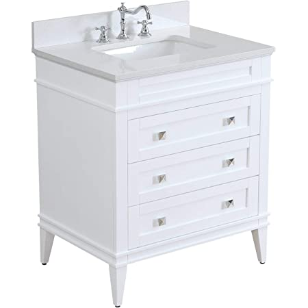 Amazon Com Eleanor 30 Inch Bathroom Vanity Quartz White Includes White Cabinet With Stunning Quartz Countertop And White Ceramic Sink Kitchen Dining