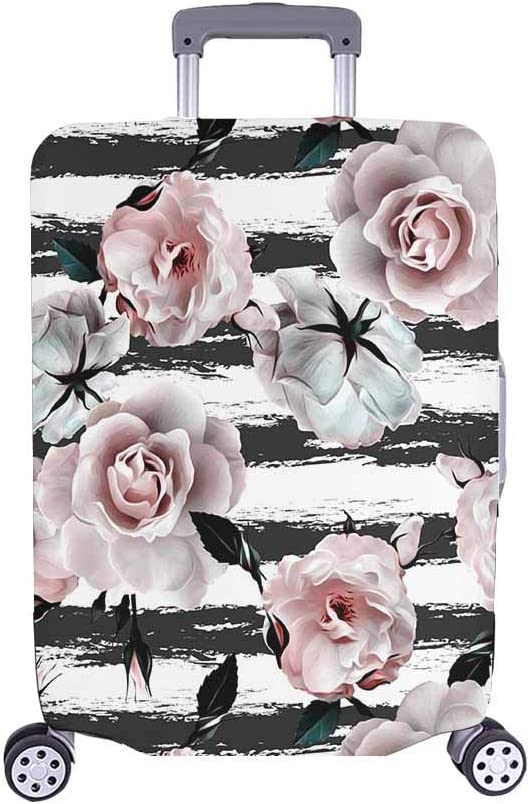 InterestPrint Pink Over item handling Roses Flower Luxury goods with Travel Cove Luggage Stripes
