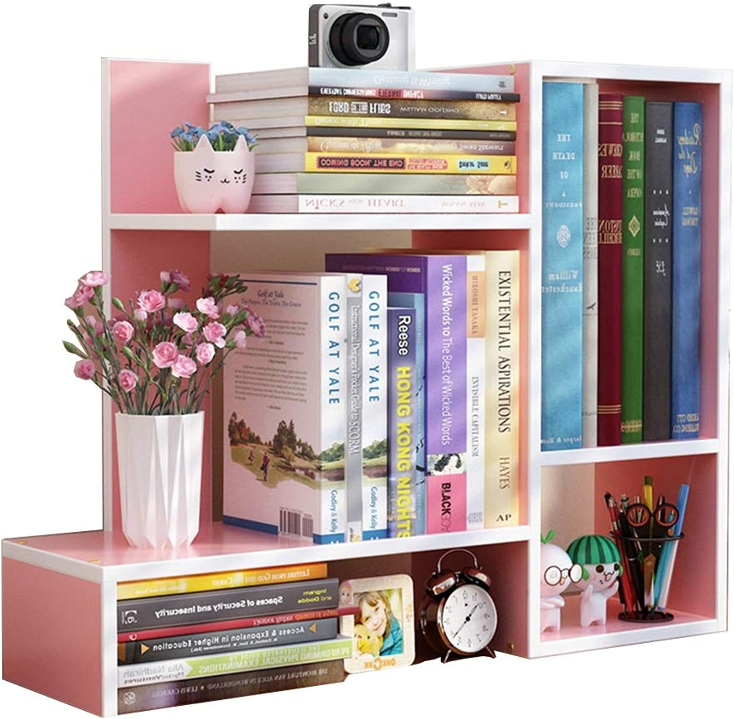 Feifei Bookshelf MDF Creative Simple Mini Desktop Bookshelf 60  17  50CM, 7 colors (color   D)